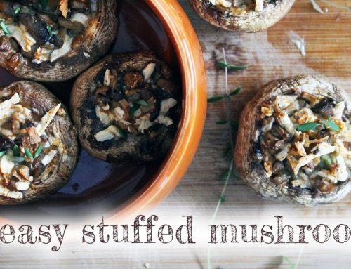 Vegan Baked Stuffed Mushrooms [gluten-free, soy-free, oil-free option]